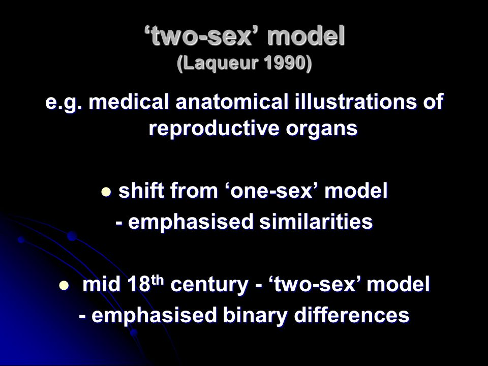 'two-sex' model (Laqueur 1990)