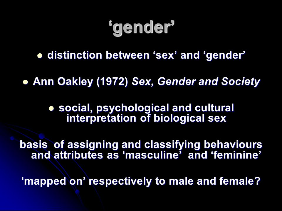 'gender' distinction between 'sex' and 'gender'