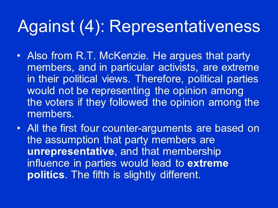 Against (4): Representativeness