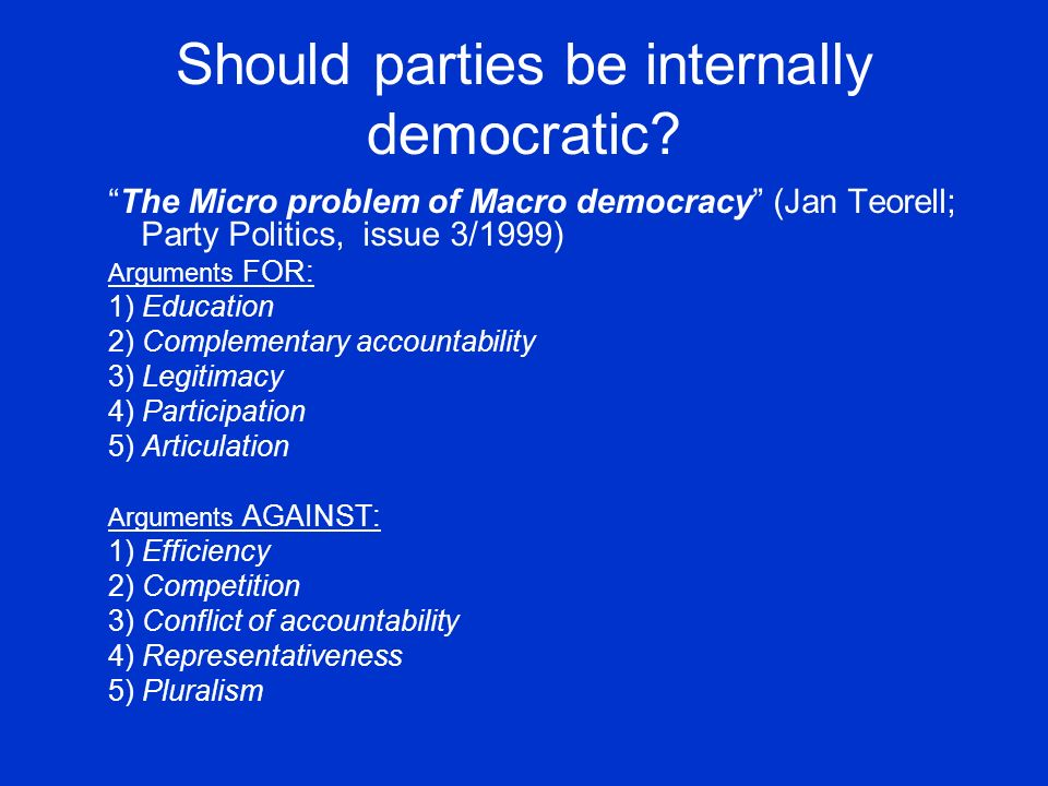 Should parties be internally democratic