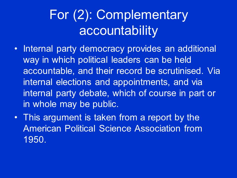 For (2): Complementary accountability