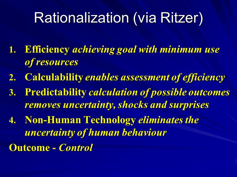 Rationalization (via Ritzer)
