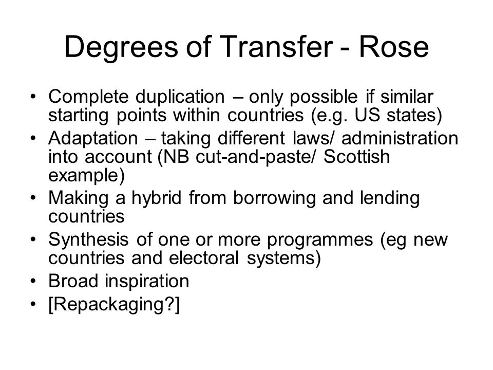 Degrees of Transfer - Rose