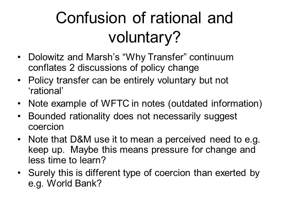Confusion of rational and voluntary