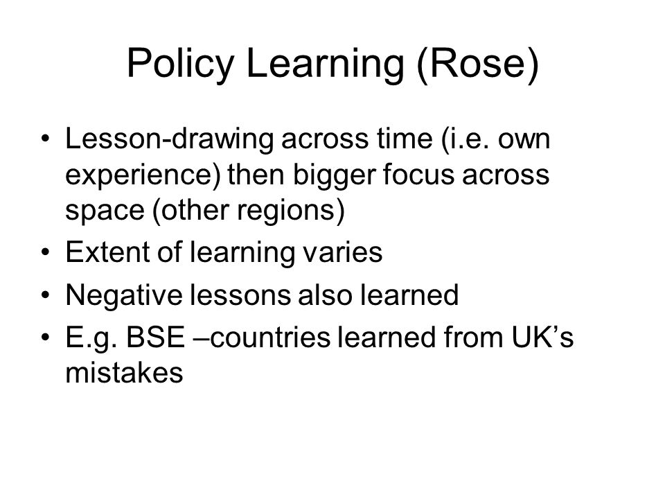 Policy Learning (Rose)