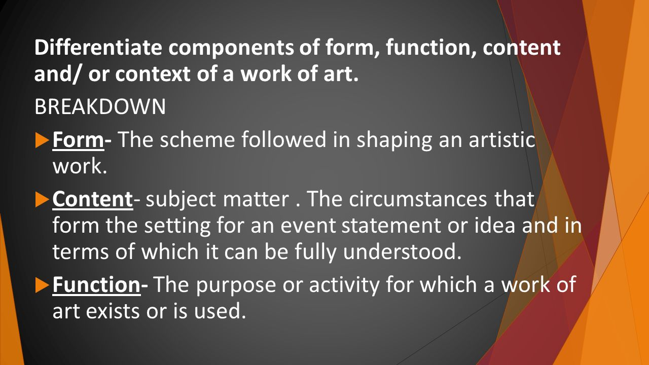 relationship of form and content in art