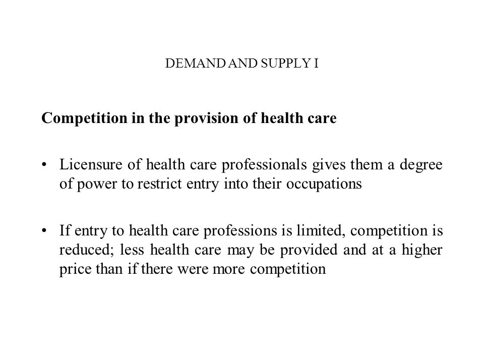 Competition in the provision of health care