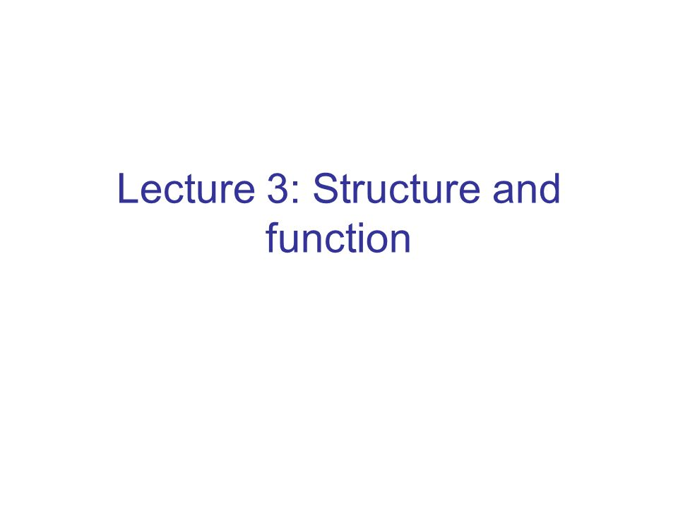 Lecture 3: Structure and function
