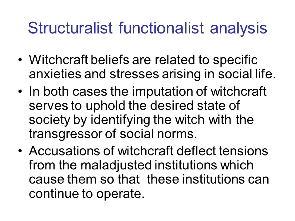 Structuralist functionalist analysis