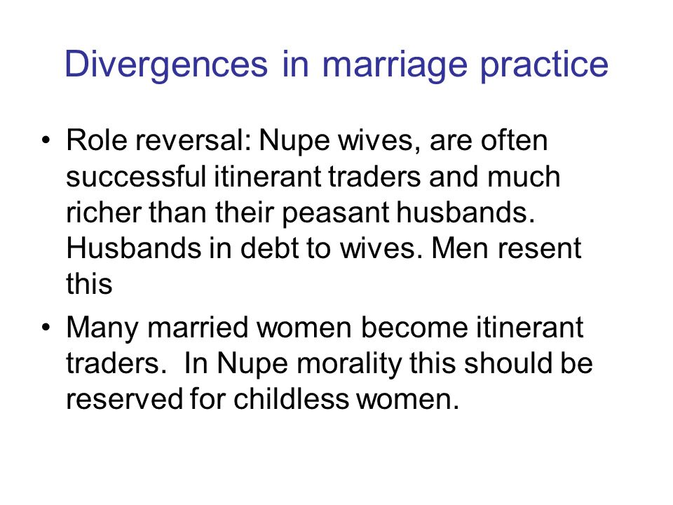 Divergences in marriage practice