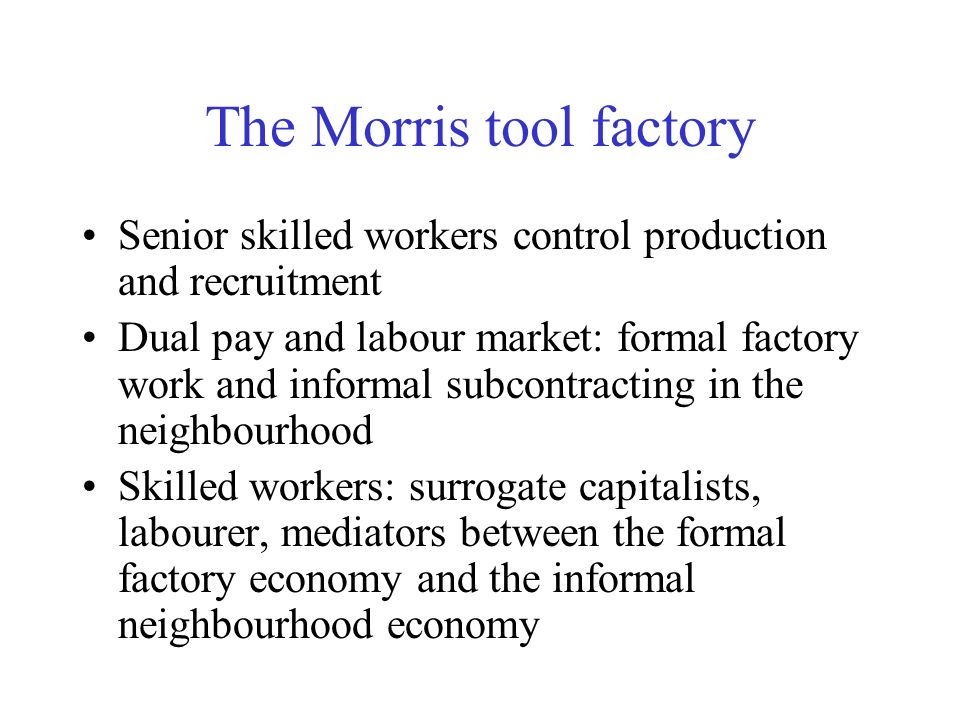 The Morris tool factory