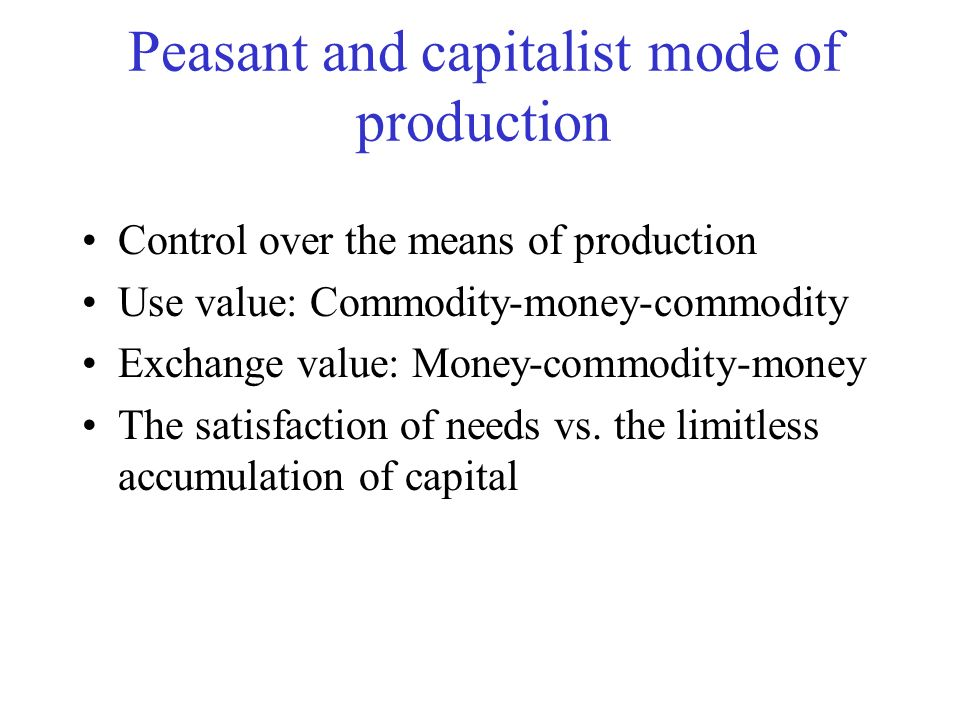 Peasant and capitalist mode of production