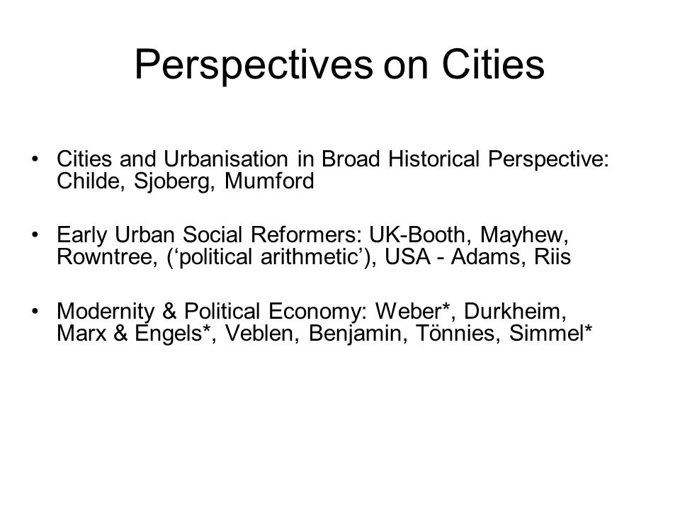 Perspectives on Cities