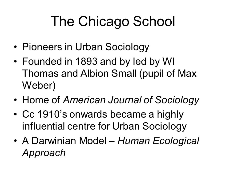 The Chicago School Pioneers in Urban Sociology