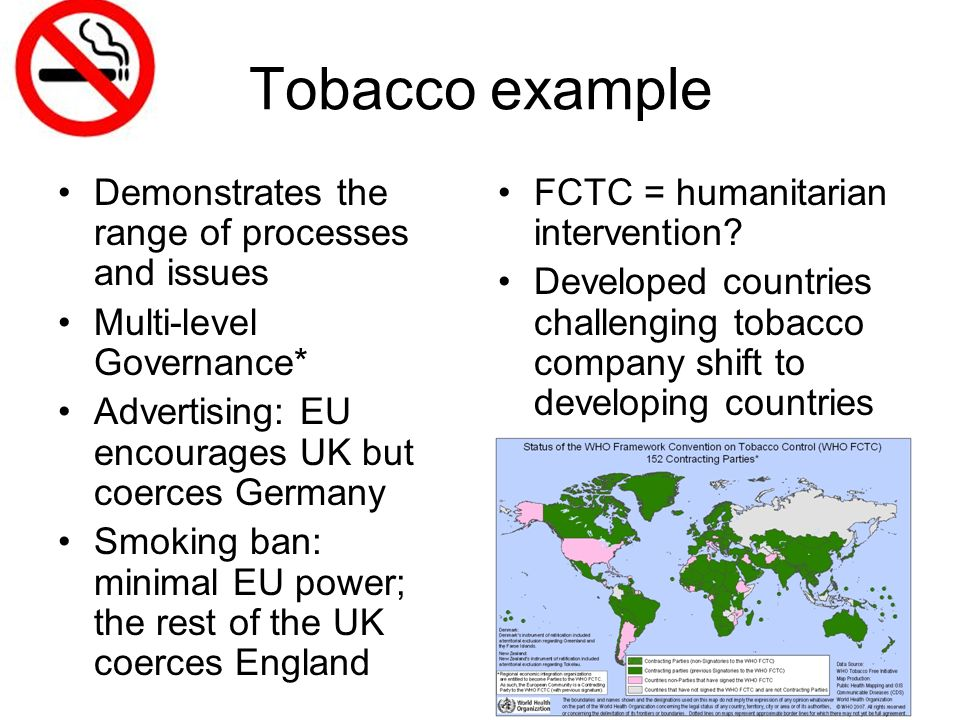 Tobacco example Demonstrates the range of processes and issues