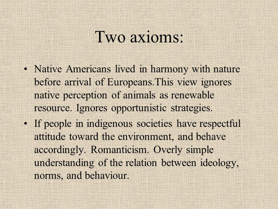 Two axioms: