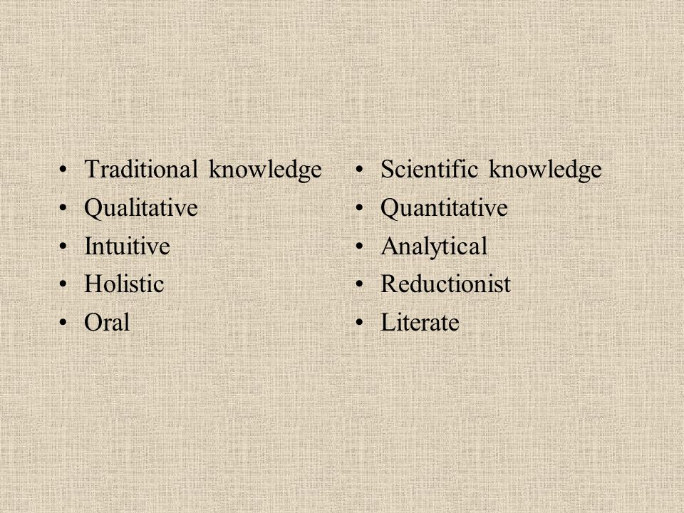 Traditional knowledge Qualitative Intuitive Holistic Oral