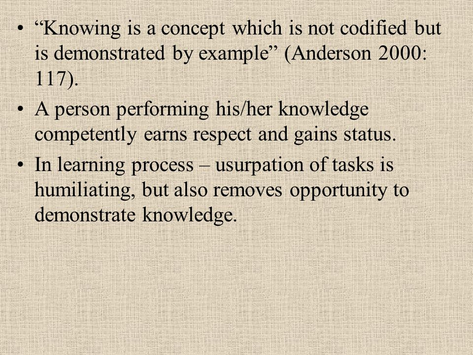 Knowing is a concept which is not codified but is demonstrated by example (Anderson 2000: 117).