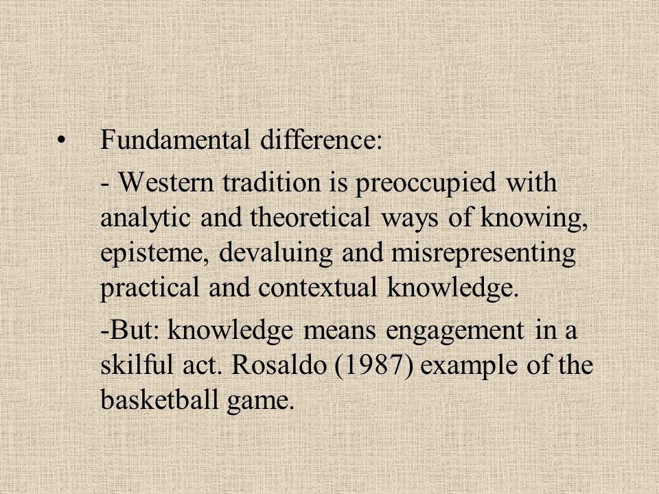 Fundamental difference: