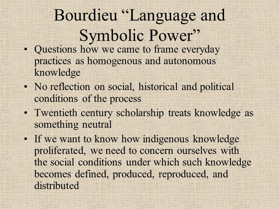 Bourdieu Language and Symbolic Power