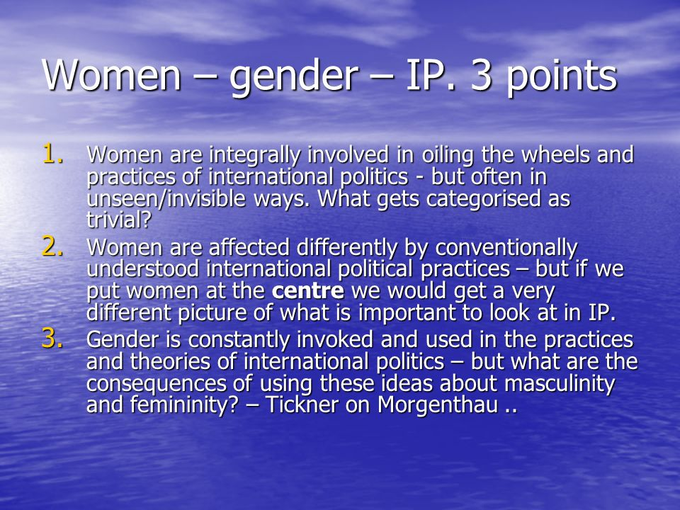 Women – gender – IP. 3 points