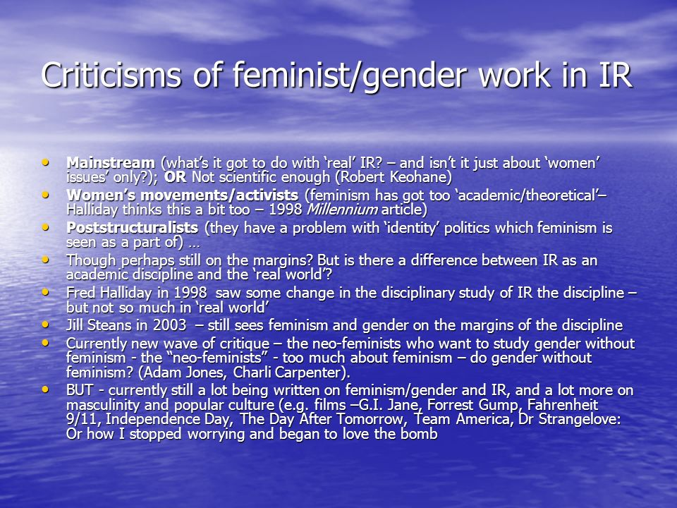Criticisms of feminist/gender work in IR