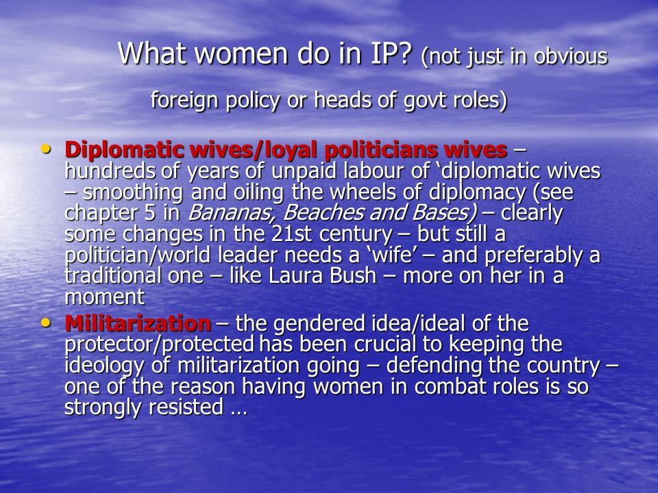 What women do in IP (not just in obvious foreign policy or heads of govt roles)