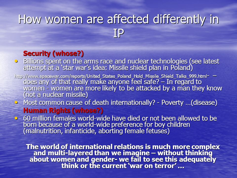 How women are affected differently in IP