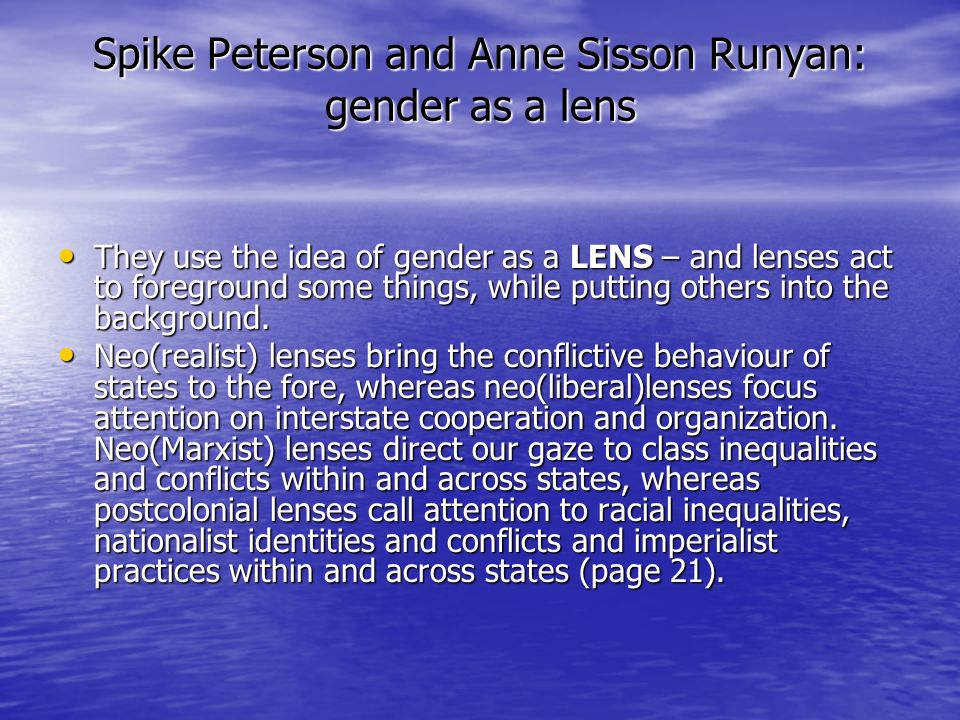 Spike Peterson and Anne Sisson Runyan: gender as a lens