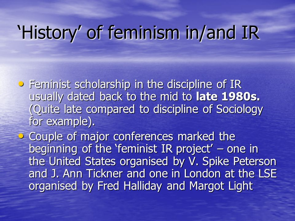 'History' of feminism in/and IR