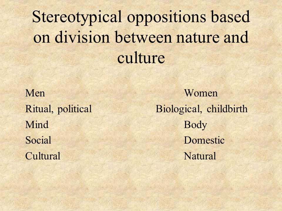 Stereotypical oppositions based on division between nature and culture