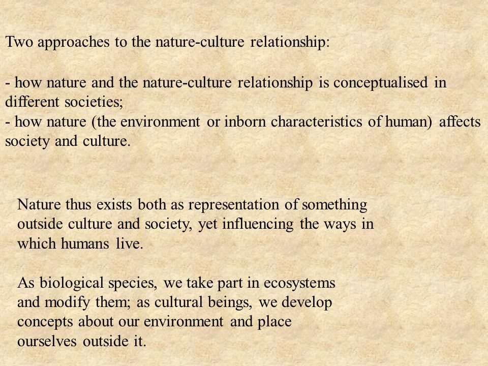 Two approaches to the nature-culture relationship: