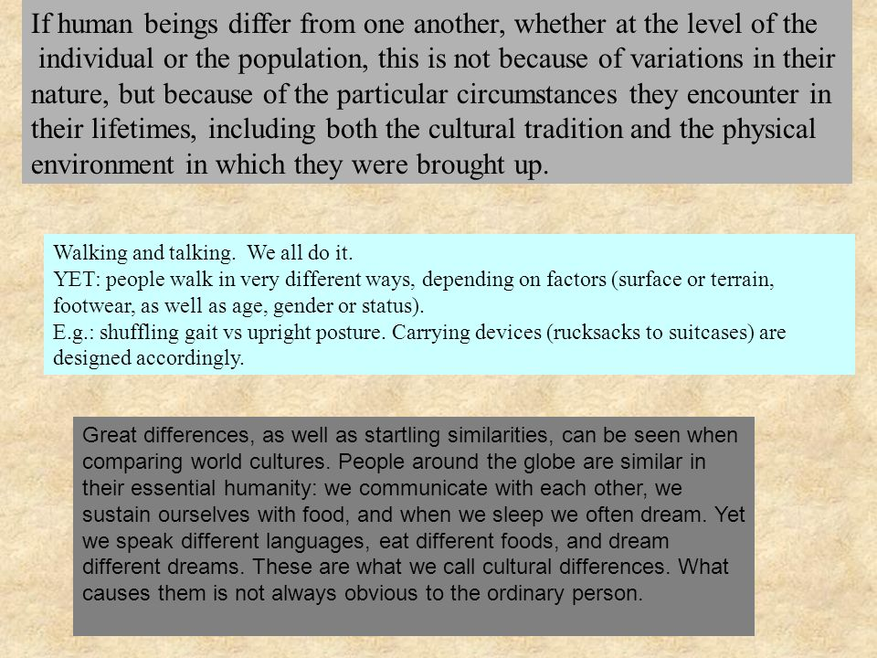 If human beings differ from one another, whether at the level of the
