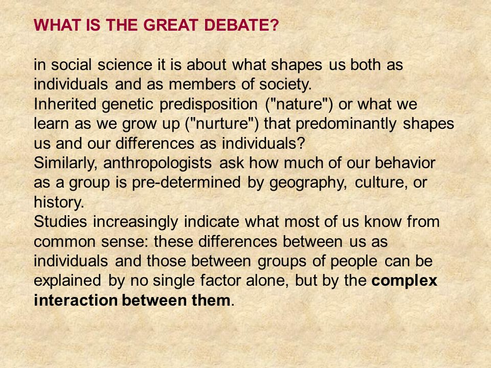WHAT IS THE GREAT DEBATE
