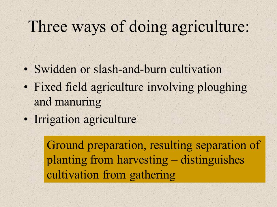 Three ways of doing agriculture: