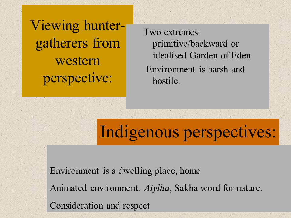 Viewing hunter-gatherers from western perspective: