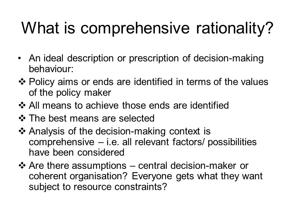 What is comprehensive rationality