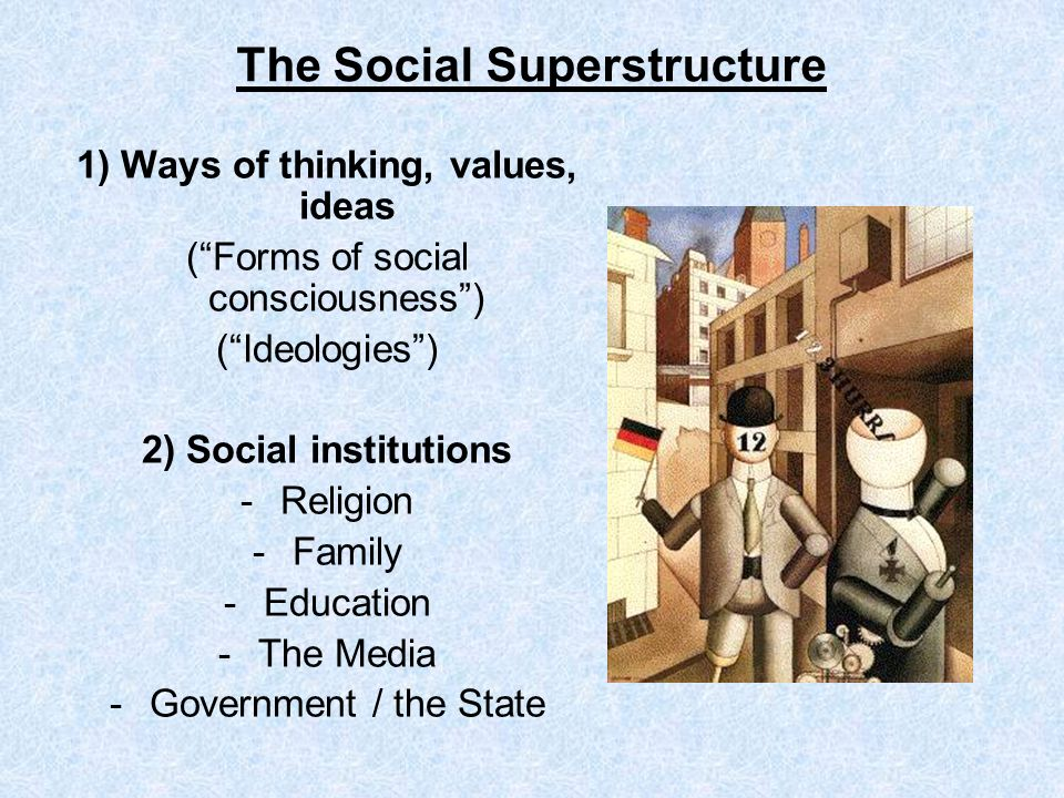 The Social Superstructure 1) Ways of thinking, values, ideas