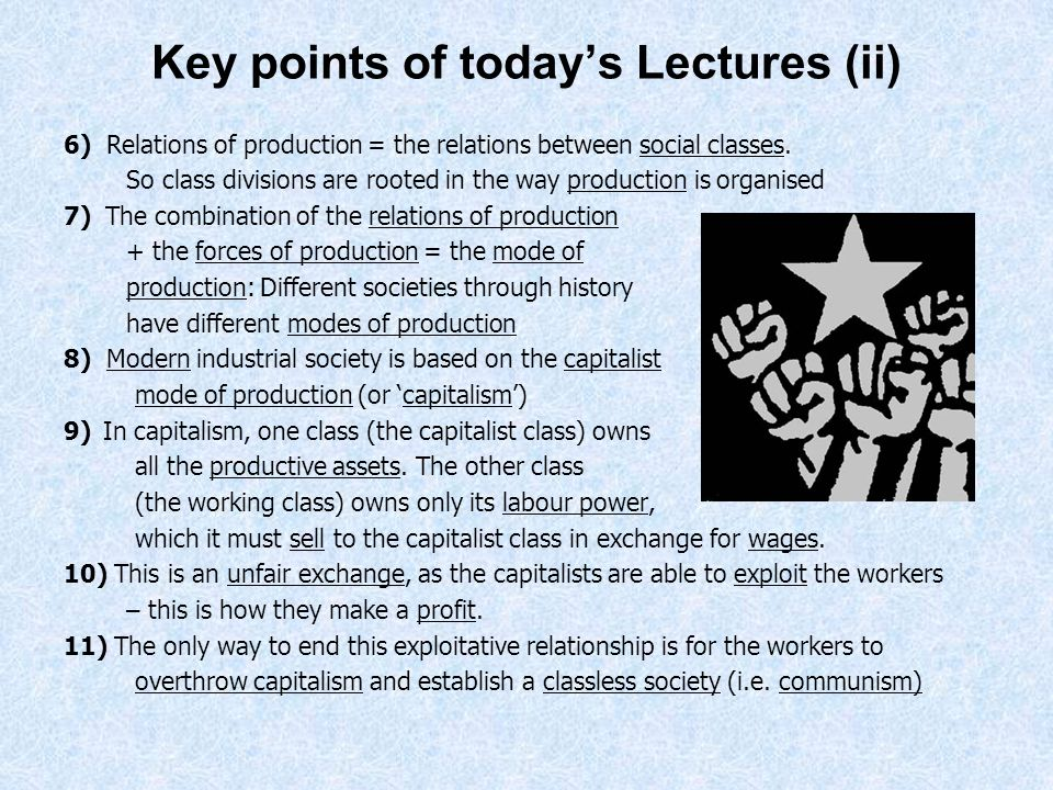 Key points of today's Lectures (ii)
