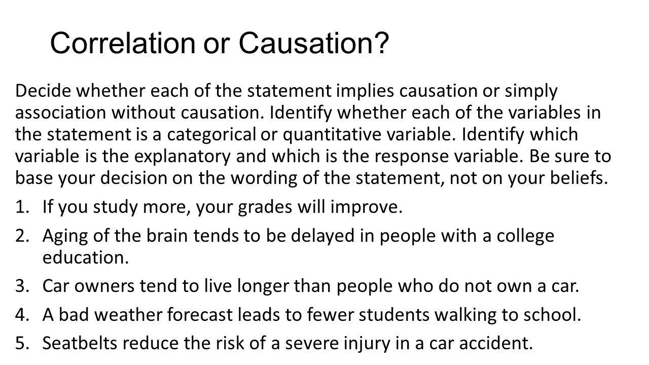 Correlation vs causation worksheet with answers