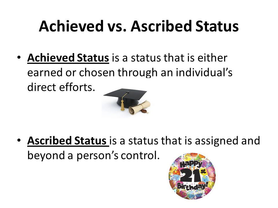 Ascribed and achieved statuses of individuals