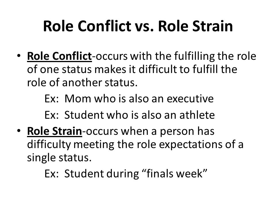role conflicts role conflicts do you experience your life The most difficult role in my life has been parenthood although i have committed myself to being an available, knowledgeable, supportive and watchful parent, i continue to lose to my children's peers and media influence strain and conflict are under statements things have been so challenging and.