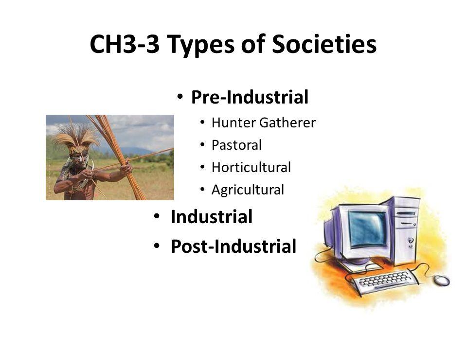 CH3-3 Types of Societies Pre-Industrial Industrial Post-Industrial
