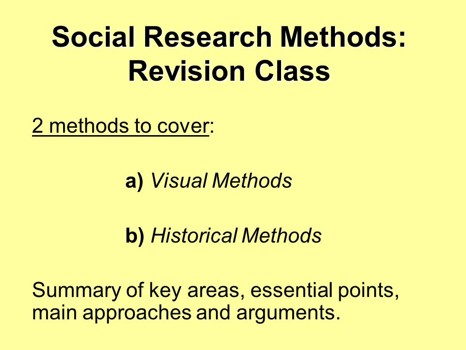 Social Research Methods: Revision Class
