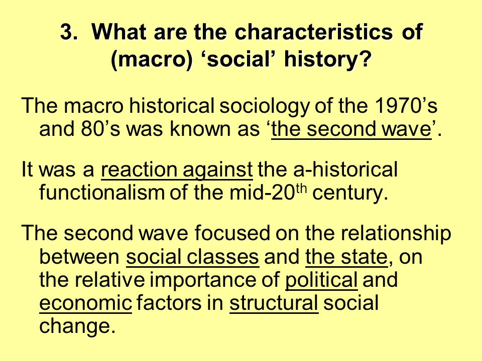3. What are the characteristics of (macro) 'social' history