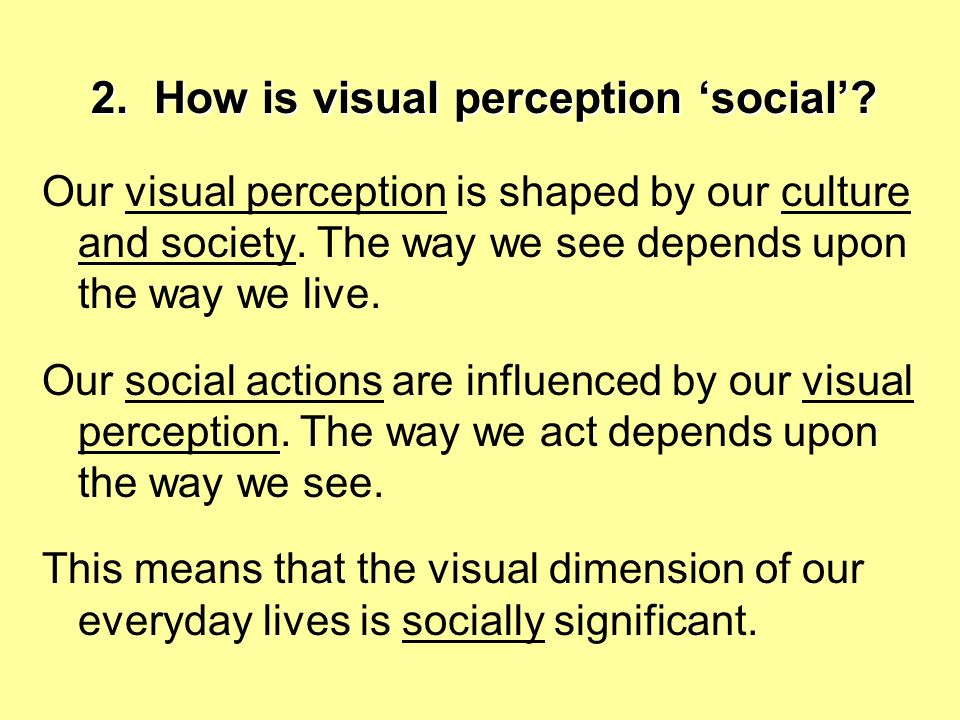 2. How is visual perception 'social'