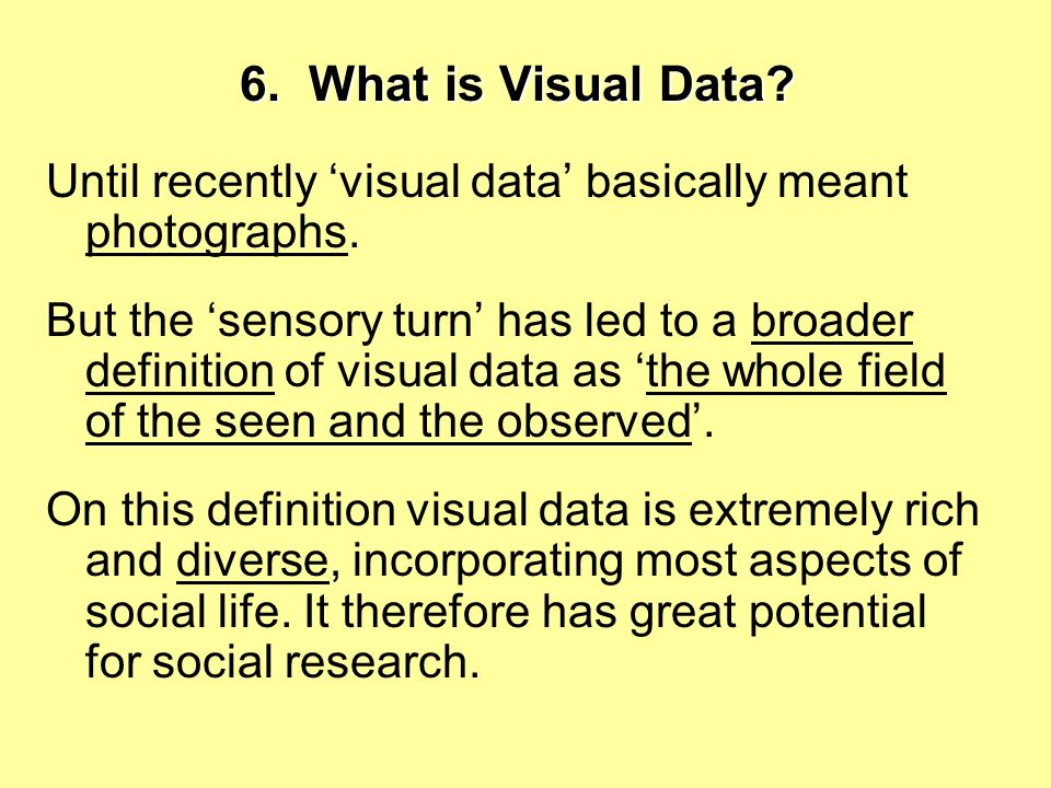 6. What is Visual Data Until recently 'visual data' basically meant photographs.