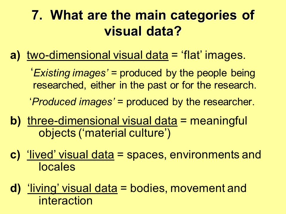 7. What are the main categories of visual data