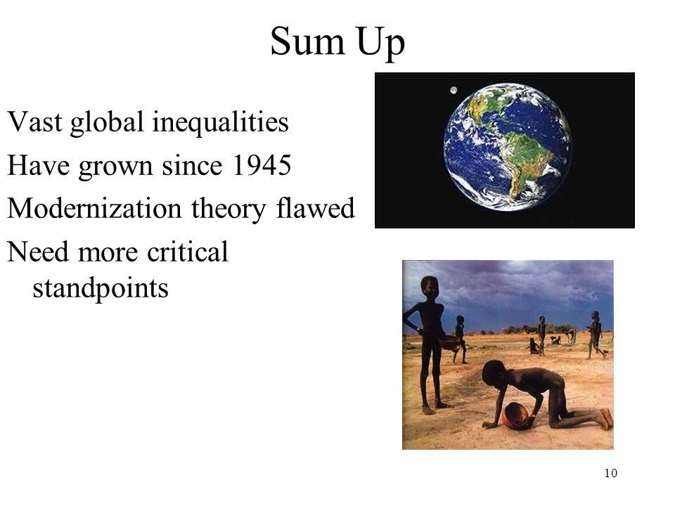 Sum Up Vast global inequalities Have grown since 1945