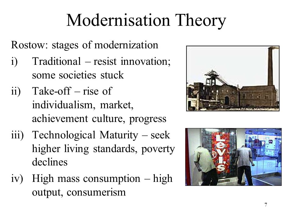 Modernisation Theory Rostow: stages of modernization